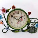 นาฬิกาตั้งโต๊ะวินเทจ ตะกร้าเขียว