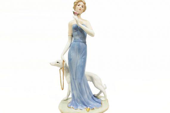 ตุ๊กตาเรซิ่นรูปหญิงสาวกับสุนัข
